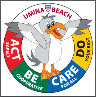 Umina beach  school rules with salty the seagul: Act safely, Be cooperative, Care for all, Do your best.